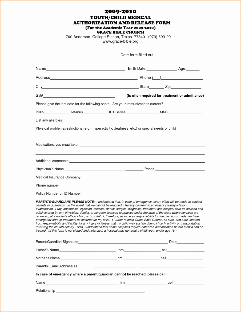Printable Medical Release form for Children Invoice