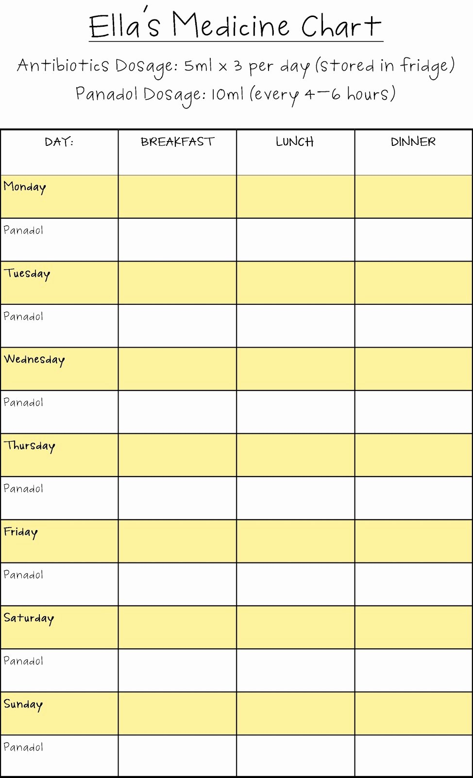 Printable Medication Schedule Chart