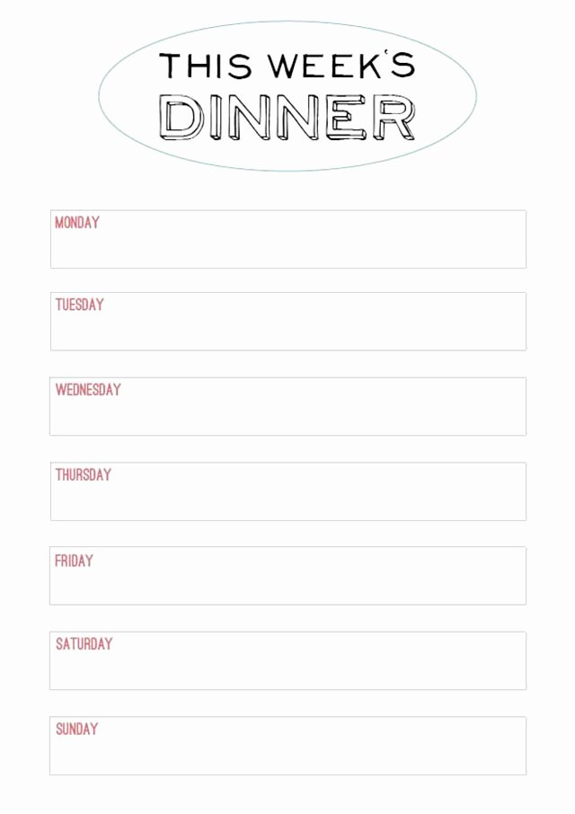 Printable Menu Template to Make the Planning Of Next