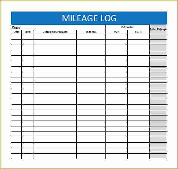Printable Mileage Log