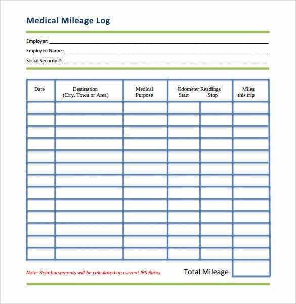 Printable Mileage Log