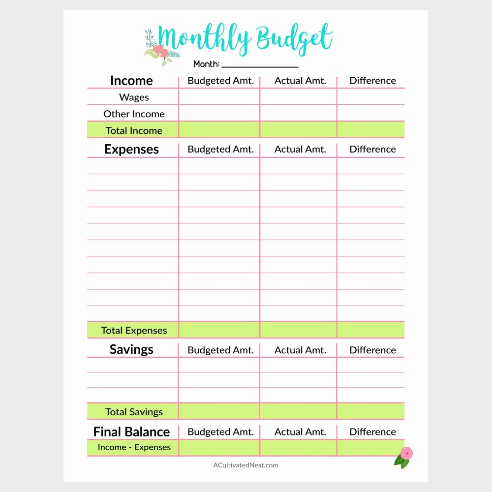 Printable Monthly Bud Template A Cultivated Nest