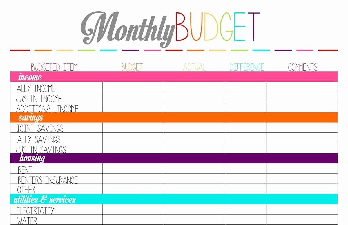 Printable Monthly Bud Template – Spreadsheets