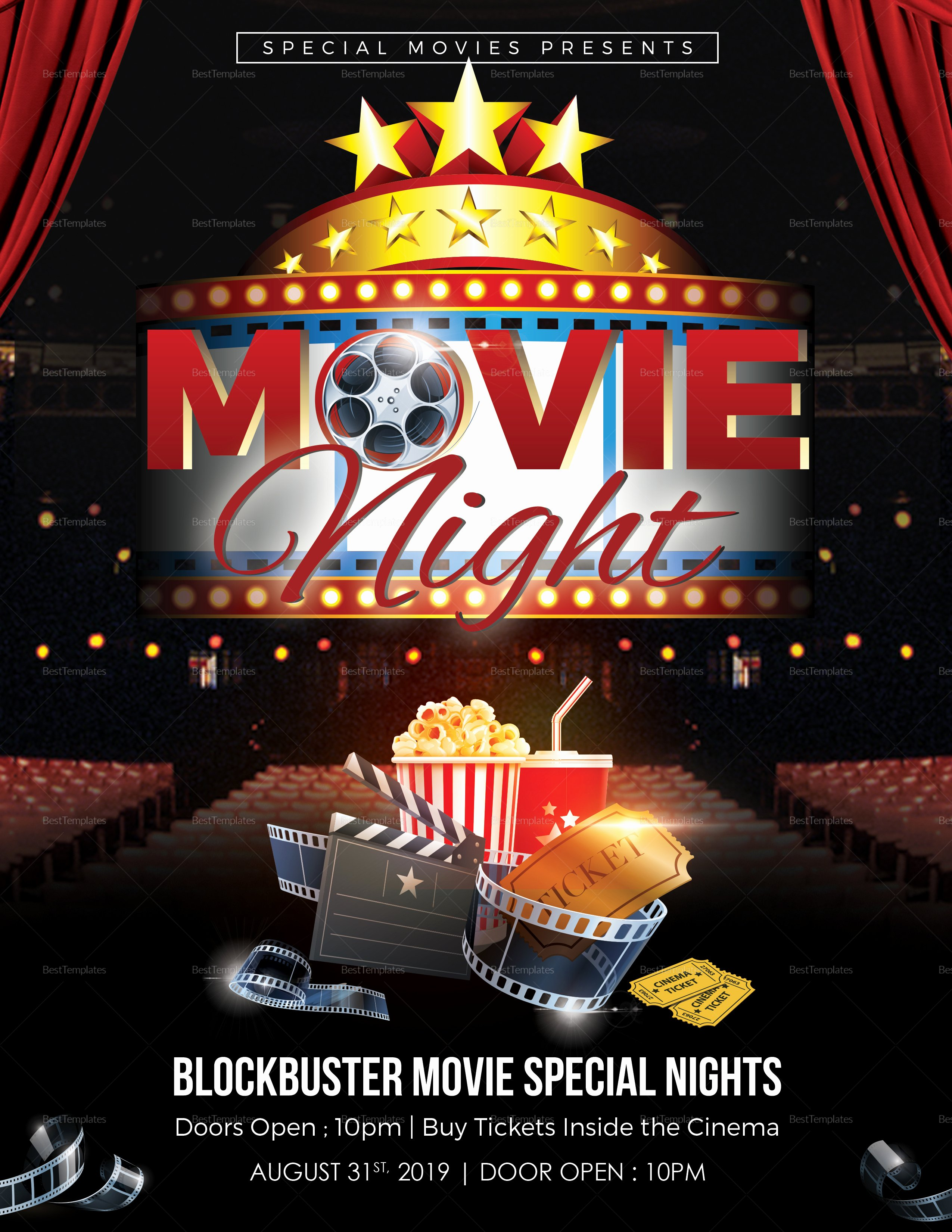 Printable Movie Night Flyer Design Template In Word Psd