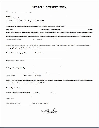 Printable Ms Word Parent Consent forms