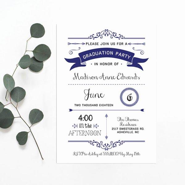 Printable Navy Diy Graduation Party Invitation