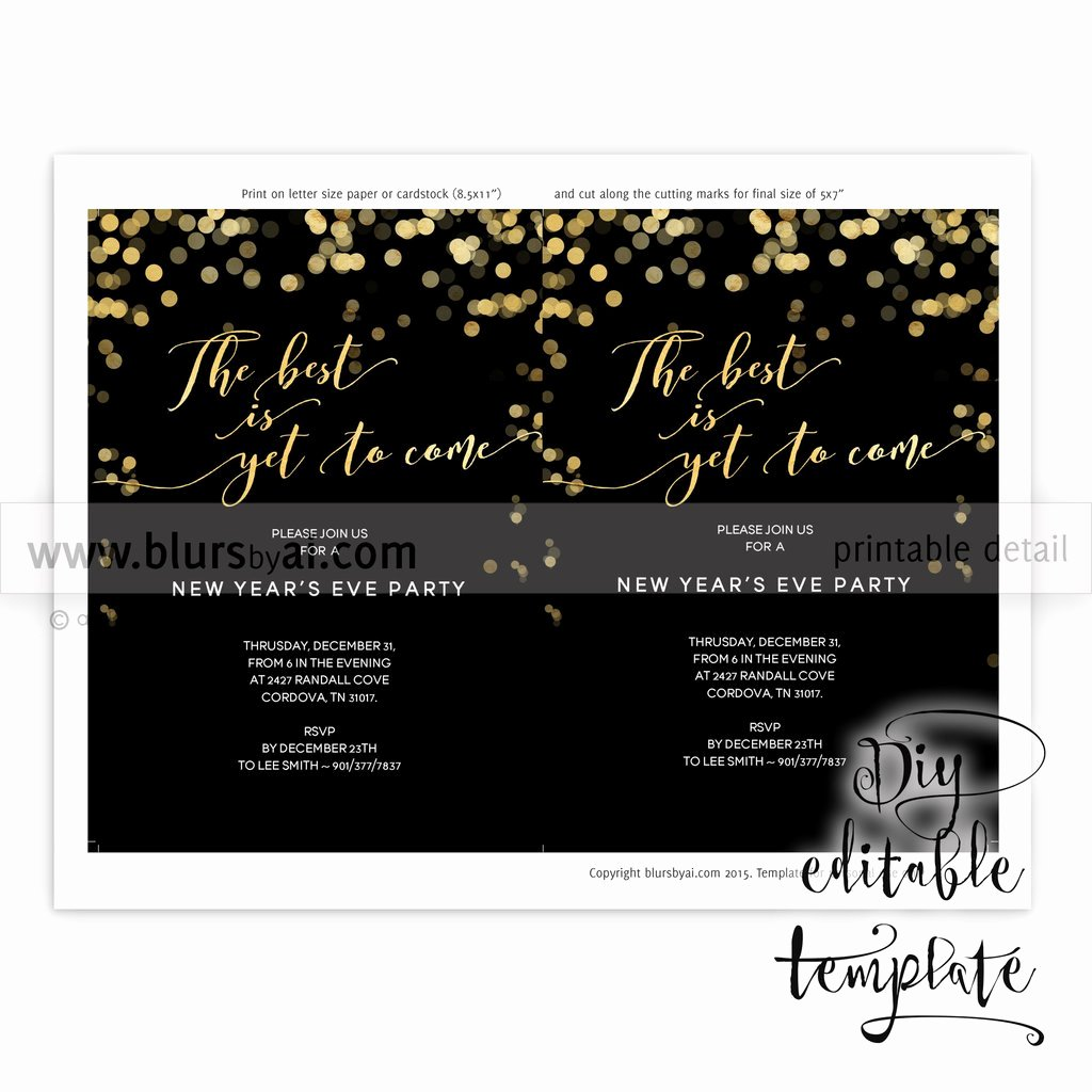 Printable New Year S Eve Party Invitation Template for