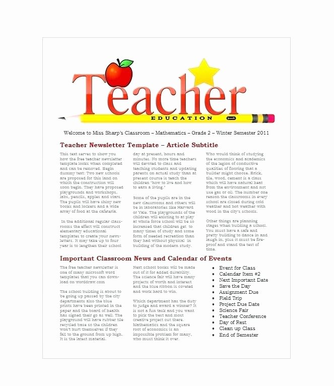 Printable Newsletter Template First Grade Monthly