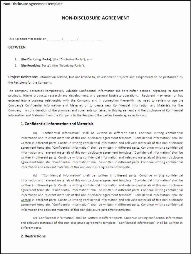 Printable Non Disclosure Agreement Template Example with