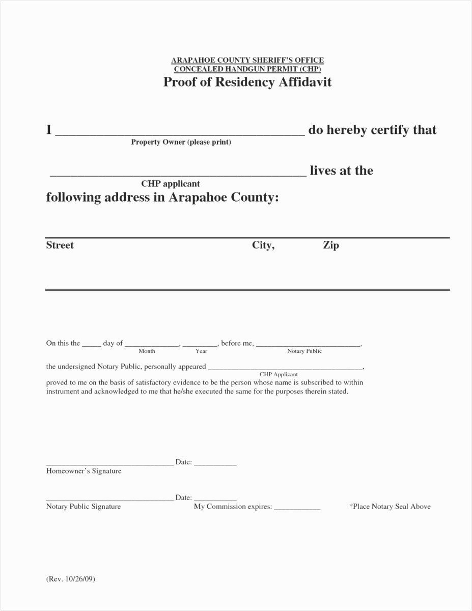 Printable Notarized Letter Residency Template