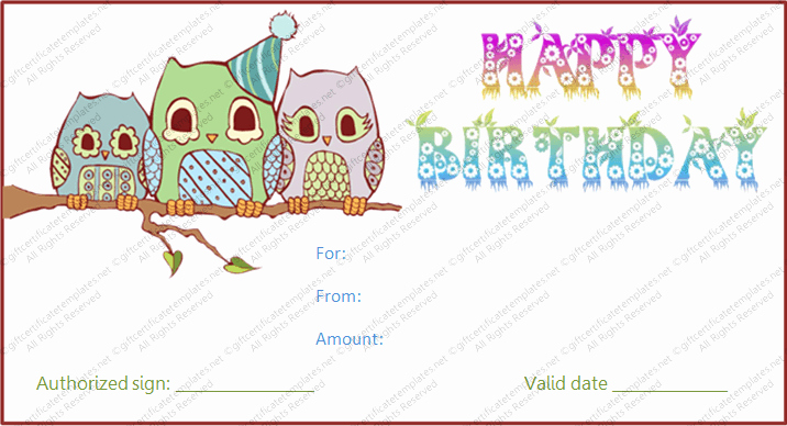 Printable Owl Birthday Gift Certificate Template