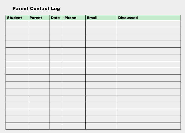 Printable Parent Contact Log Sheet Templates Excel Word