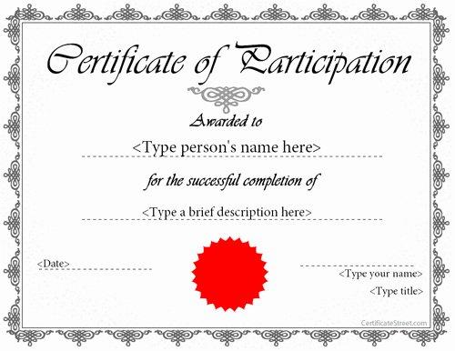 Printable Participation Templates