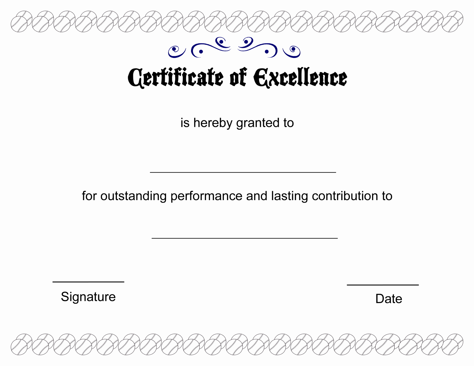 Printable Pdfs Certificate Of Excellence Template