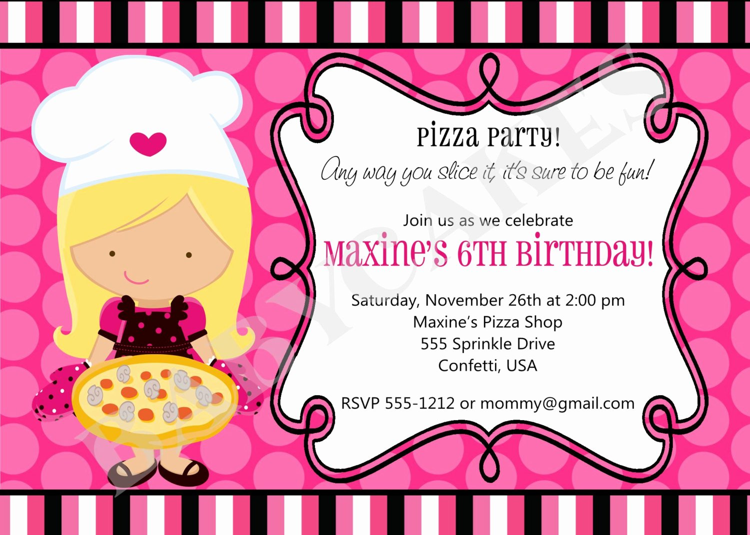 Printable Pizza Party Invitations
