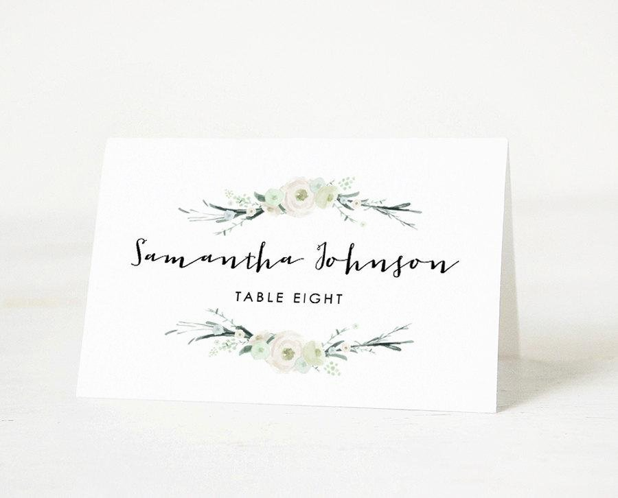 Printable Place Card Template Wedding Place Card Name Tags Calligraphy Place Cards Editable