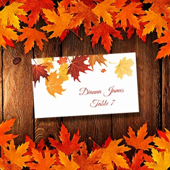 Printable Place Cards Template Falling Leaves by