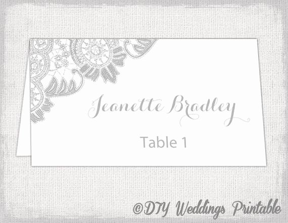 Printable Place Cards Template Silver Gray Wedding Place Card