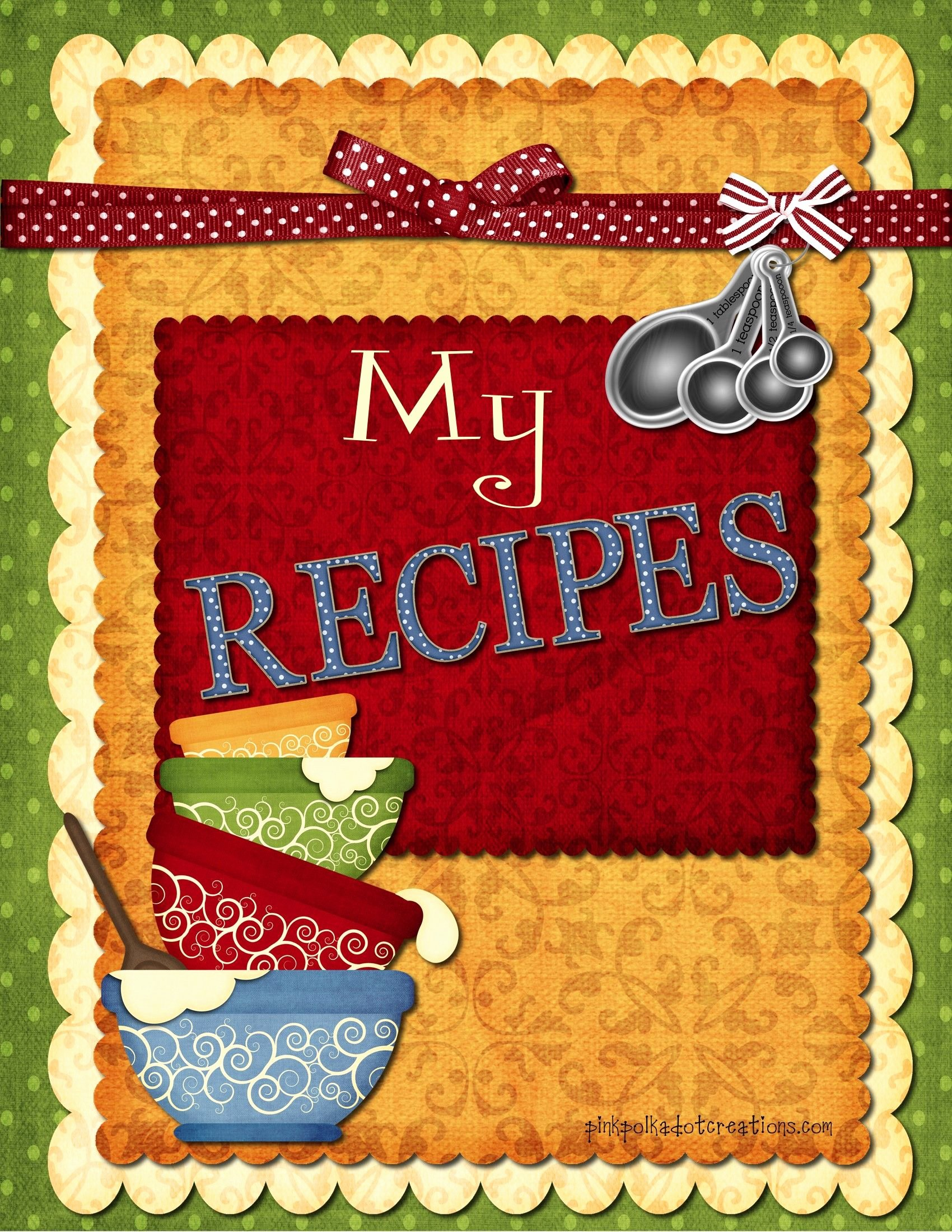 Printable Recipe Book Dividers Copy the Image Paste In