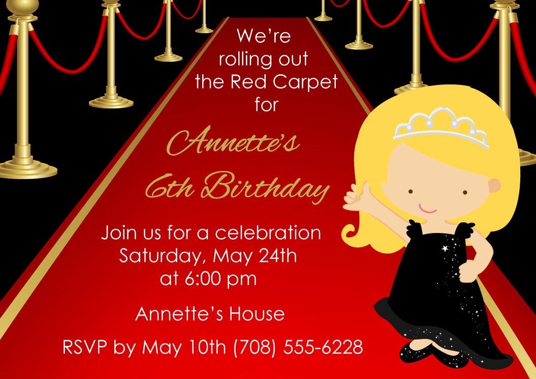Printable Red Carpet Invitation • Kids Red Carpet Birthday