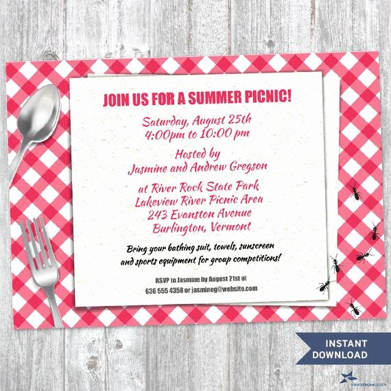 Printable Red Gingham Summer Picnic with Ants Party