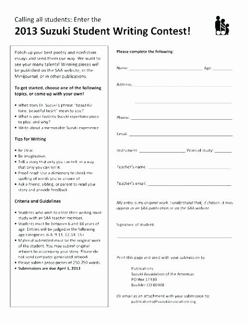 Printable Registration form Template Contest Entry