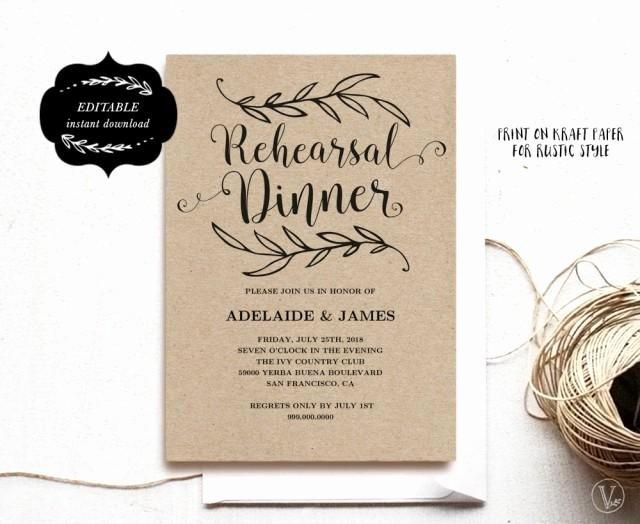 Printable Rehearsal Dinner Invitation Card Template Kraft