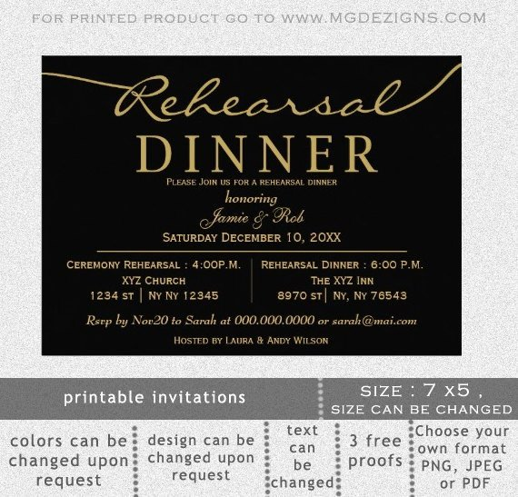 Printable Rehearsal Dinner Invitation Template Calligraphy