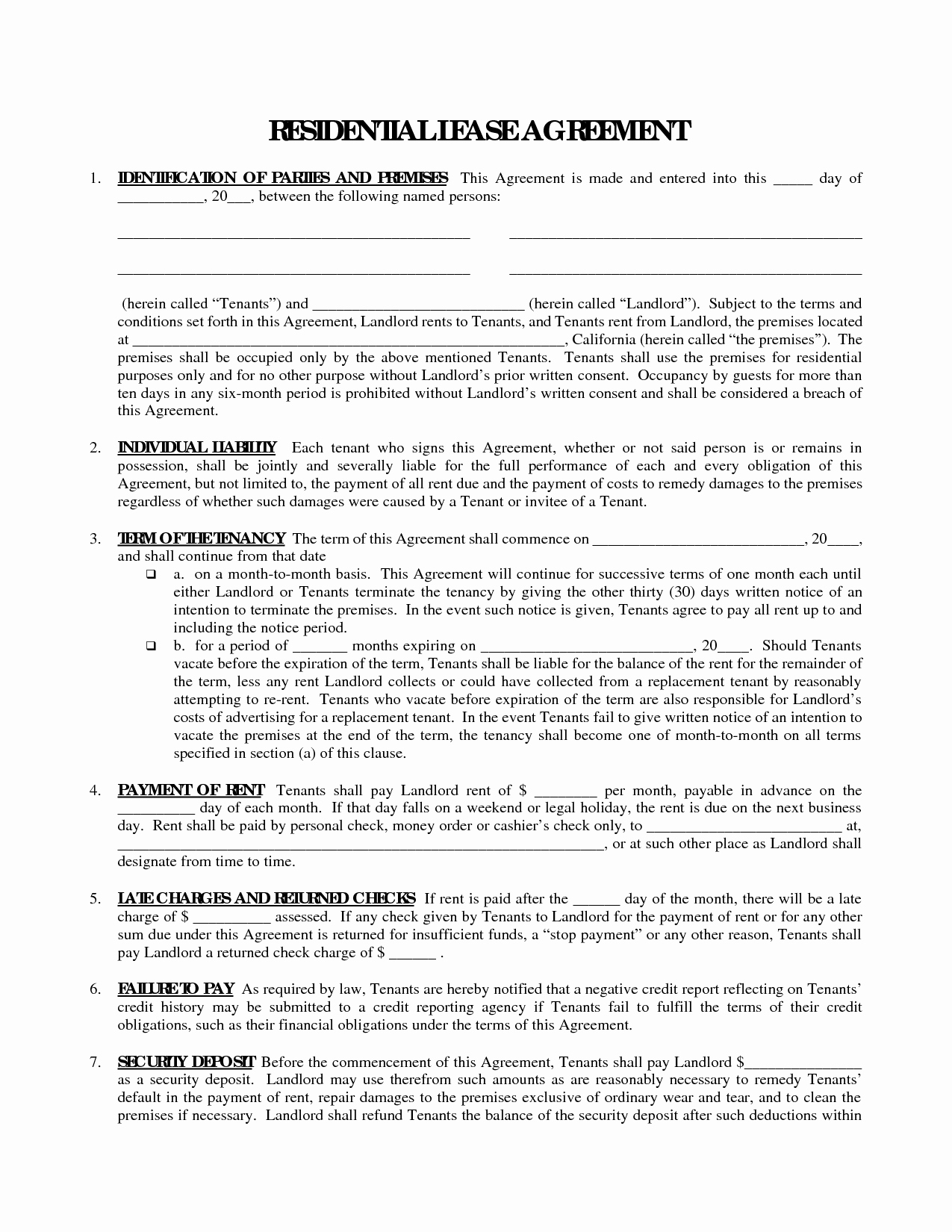 Printable Residential Free House Lease Agreement