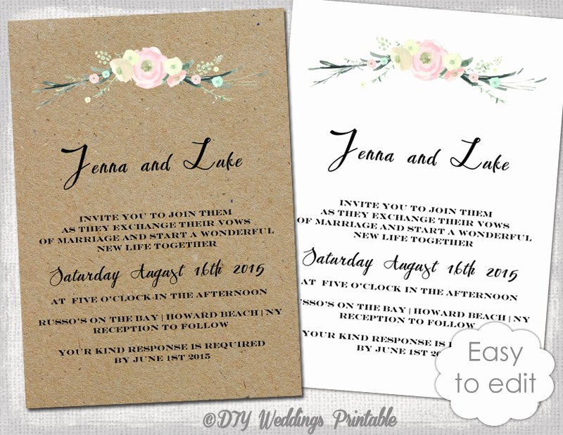 Printable Rustic Wedding Invitation Template Rustic