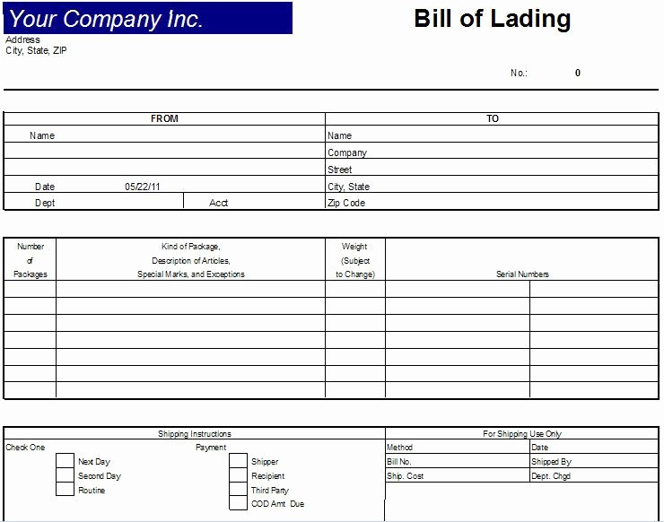 Printable Sample Bill Lading Template form