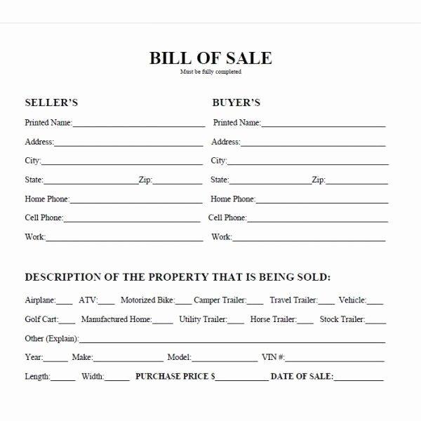 Printable Sample Bill Sale form