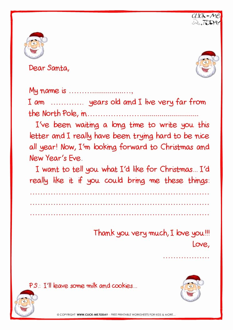 Printable Sample Letter to Santa Claus with Ps Santa