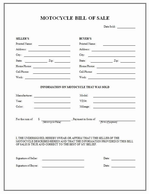 Printable Sample Motorcycle Bill Of Sale form