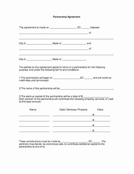 Printable Sample Partnership Agreement form