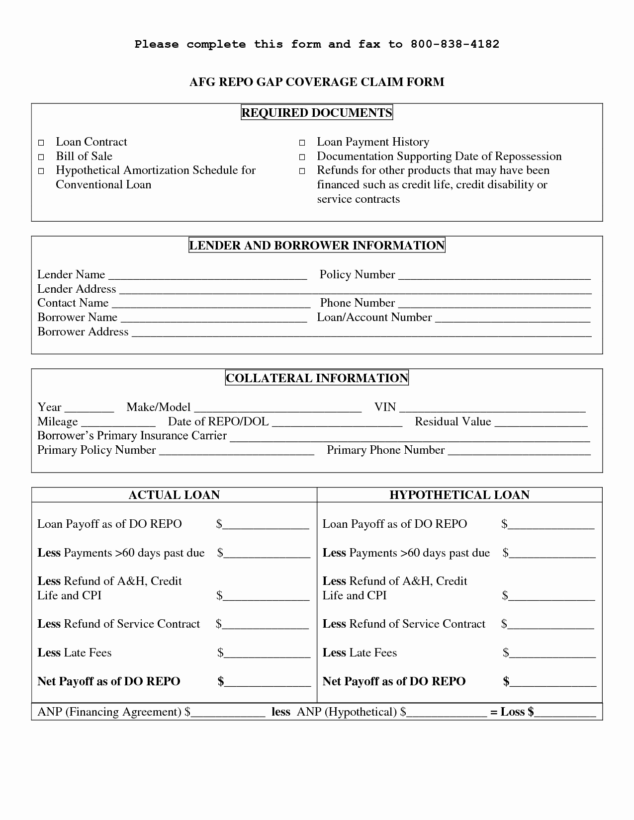Printable Sample Personal Loan Contract form