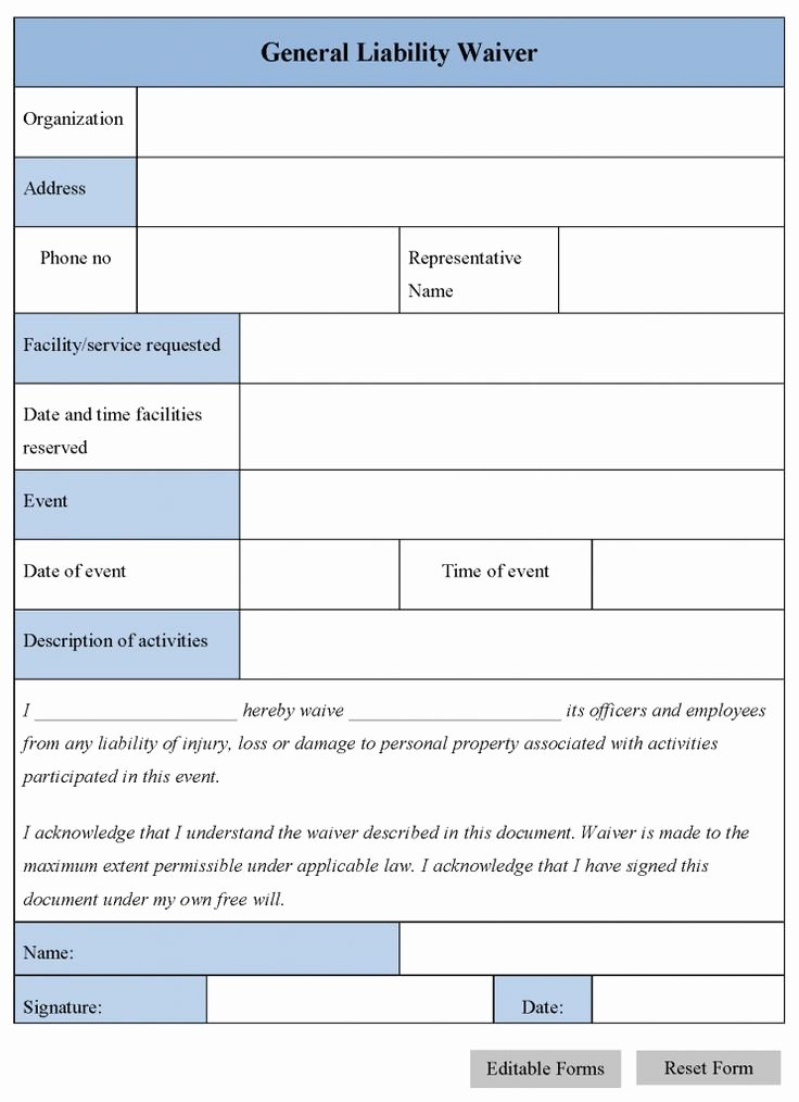 Printable Sample Release and Waiver Liability Agreement