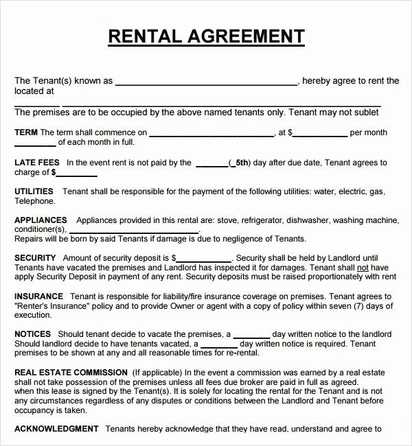 Printable Sample Rental Agreement form