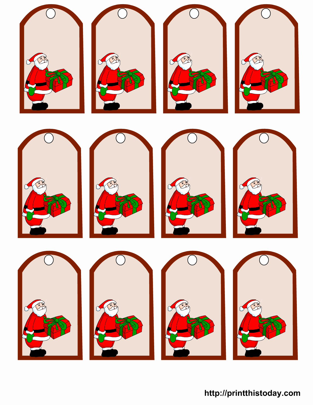 Printable Santa Claus Christmas Gift Tags