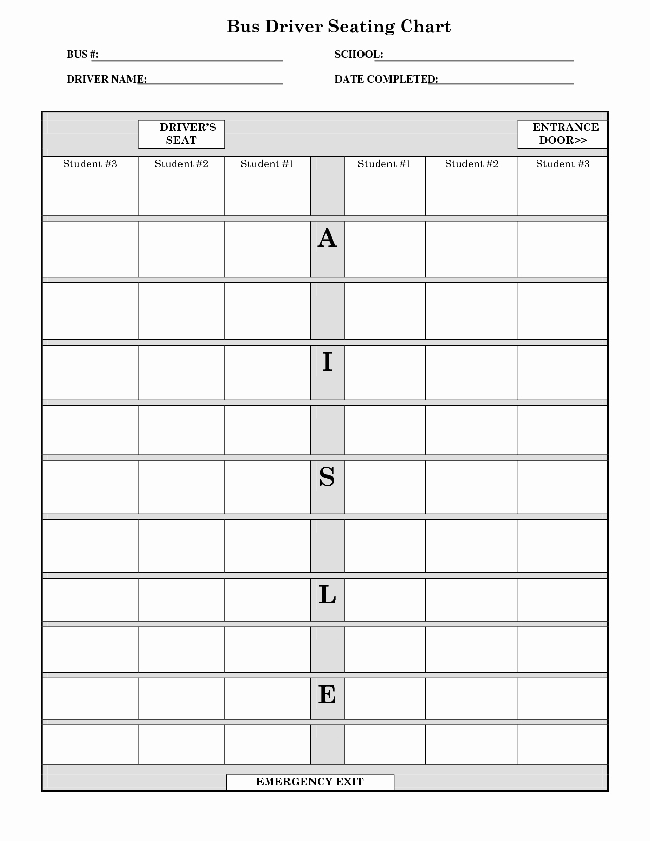 Printable School Bus Seating Chart Templates to