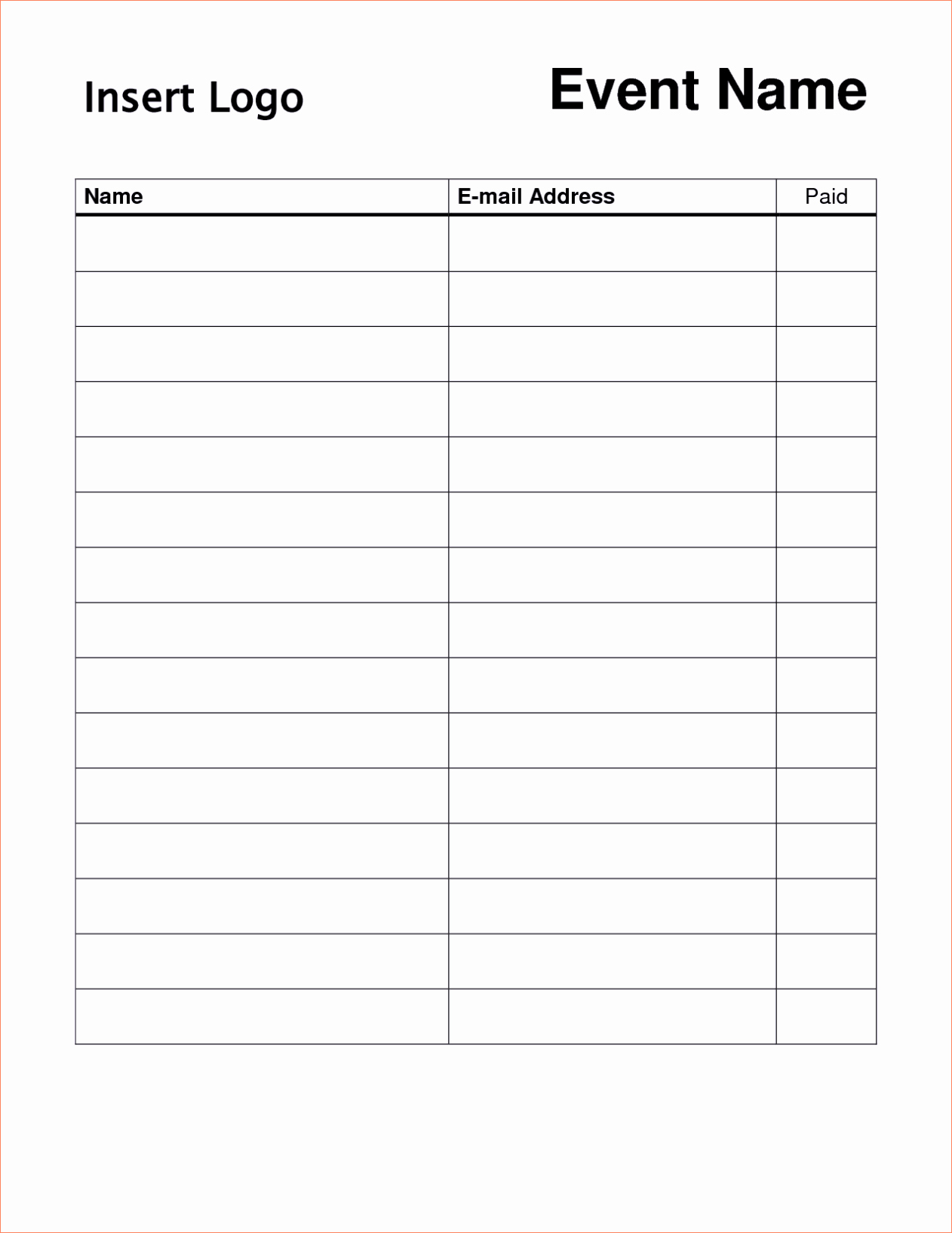 Printable Sign Up Sheet Template Word Excel