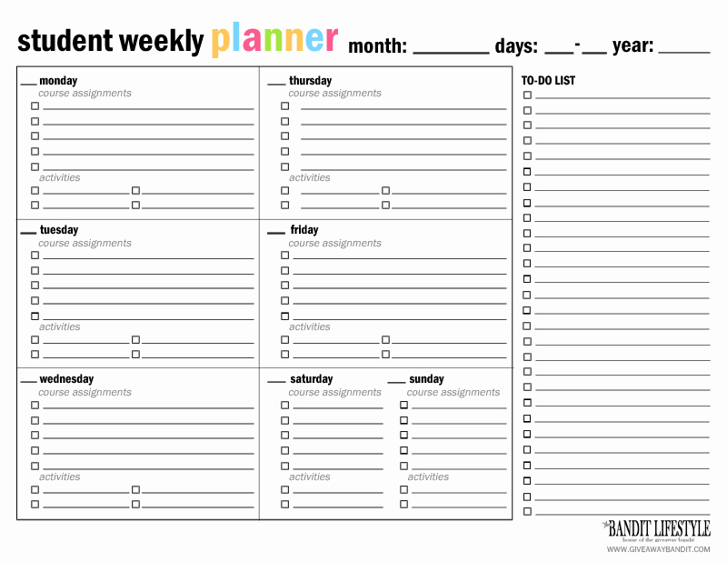 Printable Student Planner Binder the Bandit Lifestyle