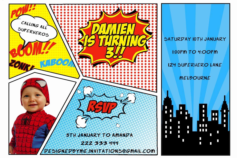Printable Superhero Birthday Invitation Diy Printing Jpeg
