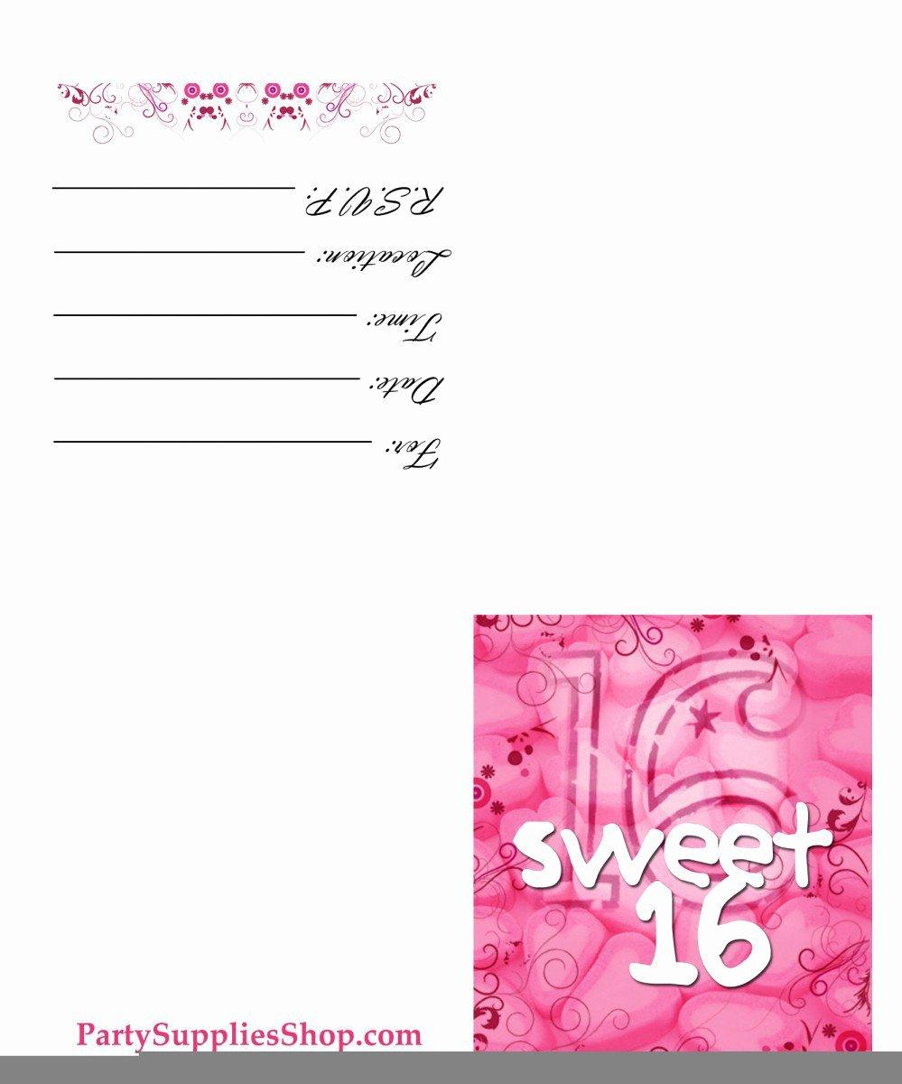 Printable Sweet 16 Birthday Invitations