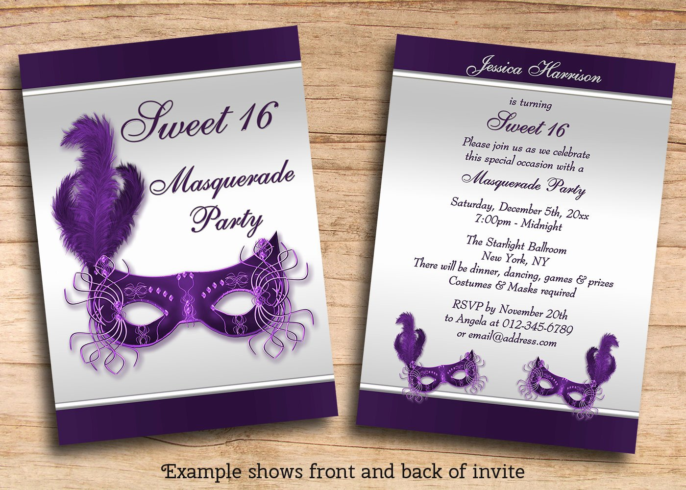 Printable Sweet 16 Masquerade Party Invites by