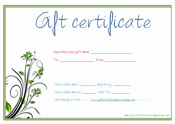 Printable T Certificate Template Gift Certificate
