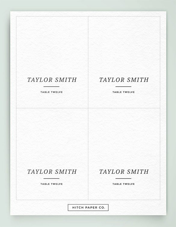 Printable Table Place Cards Template