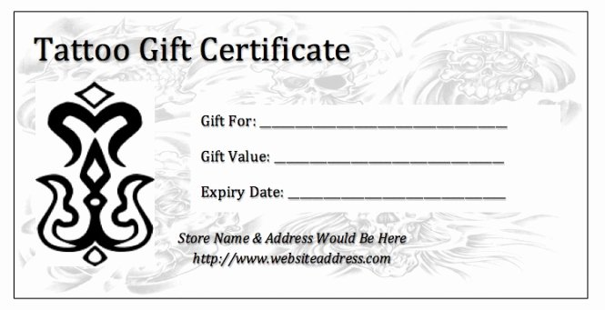 Printable Tattoo Gift Certificate