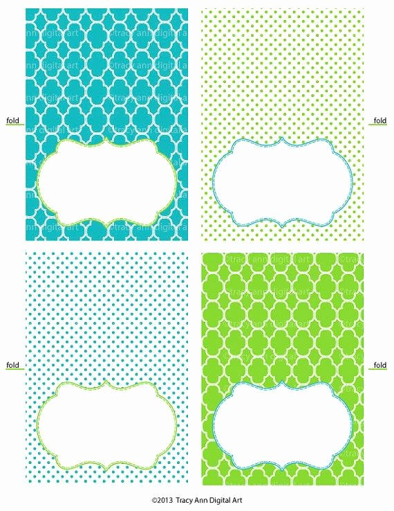 Printable Tent Cards Ginny Blue and Green