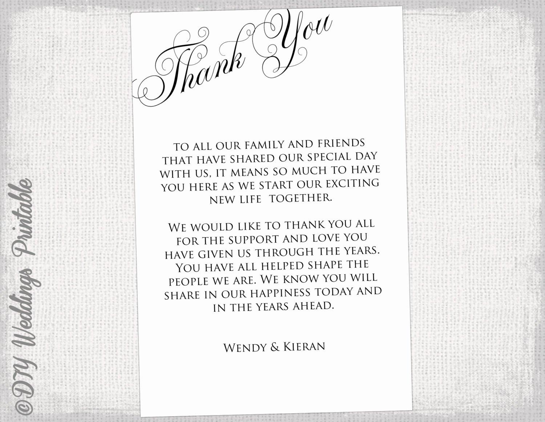 Printable Thank You Card Template Black & White Wedding Thank